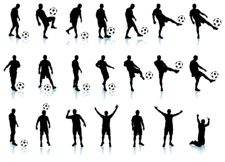soccerfootball  player detailed silhouette set 21 unique illustrations Each soccerfootball player is grouped illustration