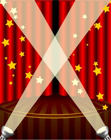 Stage with Bright Lights Original Vector Illustration