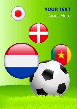 danish flag: 2010 Group E World Cup Original Vector Illustration AI8 Compatible Stock Photo