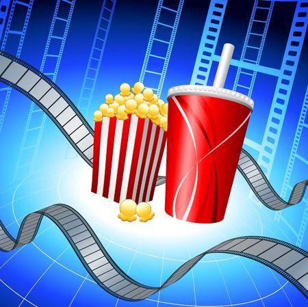 Popcorn and Soda on Film Strip Background Original Vector Illustration Film Reel Concept