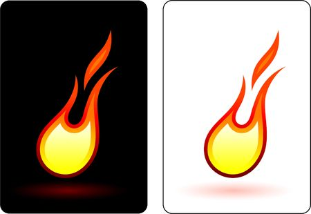flames button on white background photo