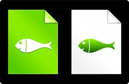 Fish on Paper SetOriginal Vector IllustrationAI 8 Compatible File Stock Illustration - 6523063