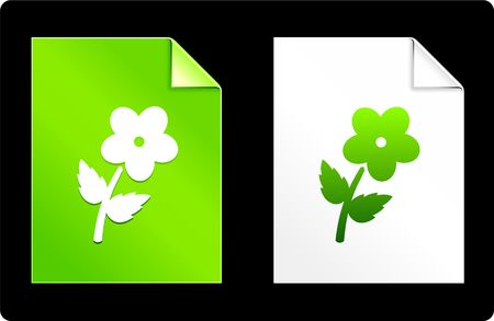 Flower on Paper SetOriginal Vector IllustrationAI 8 Compatible File Stock Illustration - 6522981