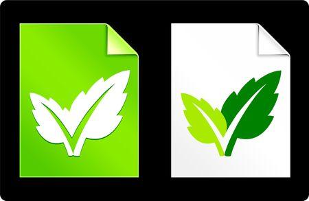 Leaf on Paper SetOriginal Vector IllustrationAI 8 Compatible File Stock Illustration - 6522989