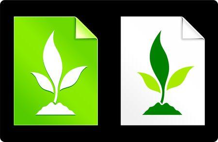 Plant on Paper SetOriginal Vector IllustrationAI 8 Compatible File Stock Illustration - 6522994