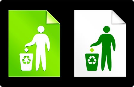 recourses: Recycle Garbage on Paper Set Original Vector Illustration AI 8 Compatible File