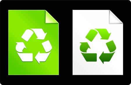 Recycle on Paper SetOriginal Vector IllustrationAI 8 Compatible File Stock Illustration - 6523100