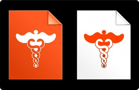 Caduceus on Paper Set Original Vector Illustration AI 8 Compatible File  illustration