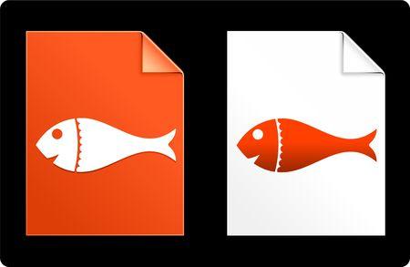 fish on Paper SetOriginal Vector IllustrationAI 8 Compatible File Stock Illustration - 6523098
