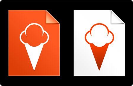 Ice Cream on Paper Set Original Vector Illustration AI 8 Compatible File