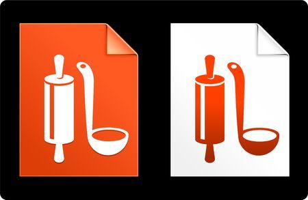 compatible: Utensil on Paper Set Original Vector Illustration AI 8 Compatible File