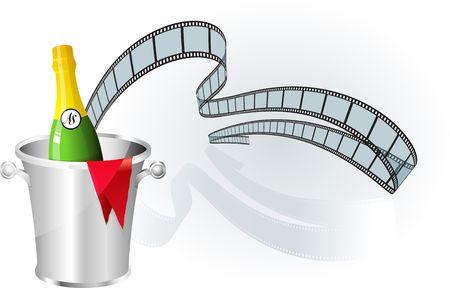 champagne celebration: Film strip background