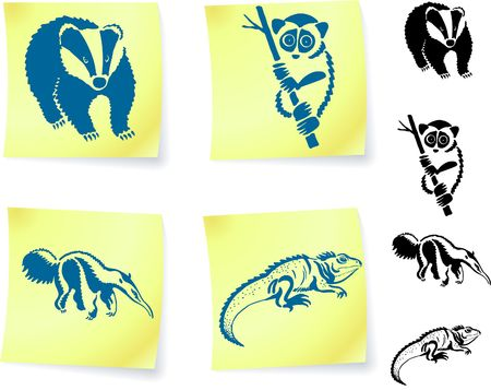 Animal drawings on post it notes