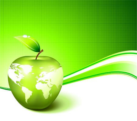drops of water: Apple Globe with World Map on Abstract Green Background