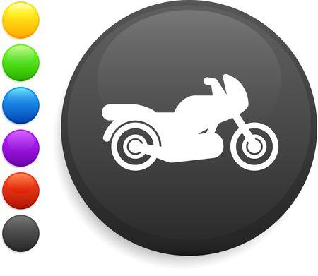 motorcycle icon on round internet button