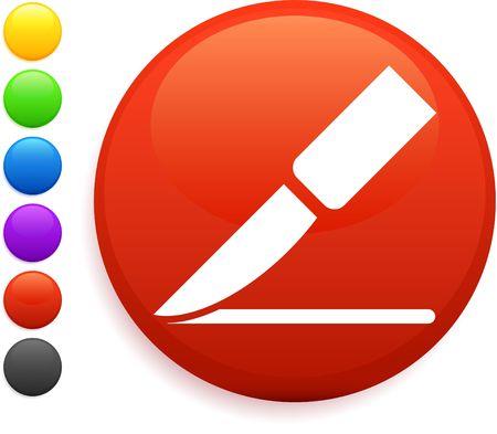 scalpel icon on round internet button photo