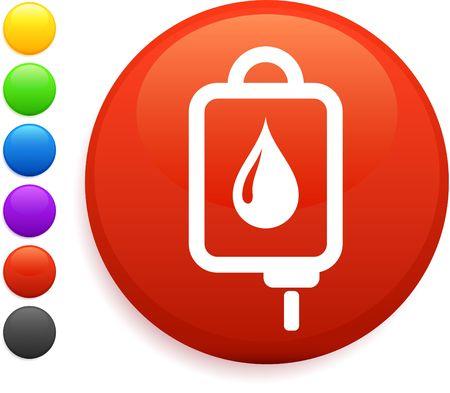 Intravenous therapy icon on round internet button