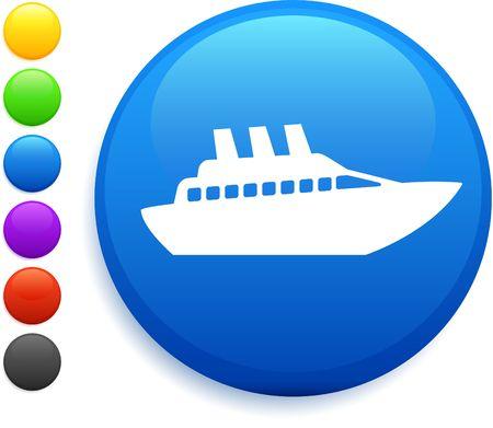 ship icon: crociera nave icona sul pulsante rotondo di internet