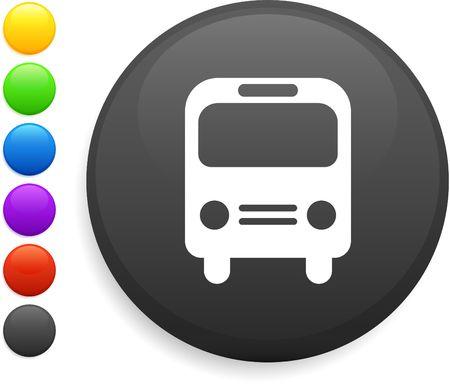 bus icon on round internet button  photo
