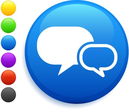 internet chat icon on round internet button Stock Photo - 6555223