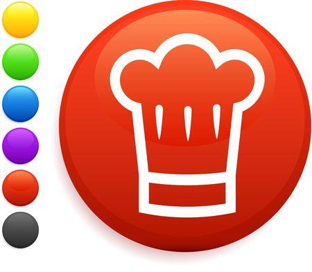 chef hat icon on round internet button photo