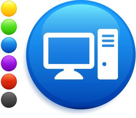 computer icon on round internet button Stock Photo - 6555178