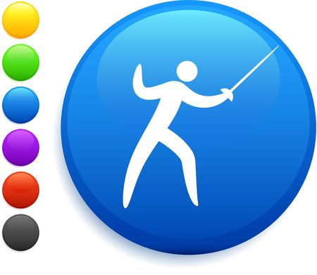 fencing icon on round internet button Stock Photo - 6555139