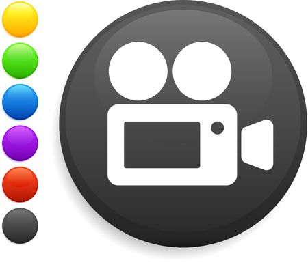 film camera icon on round internet button photo