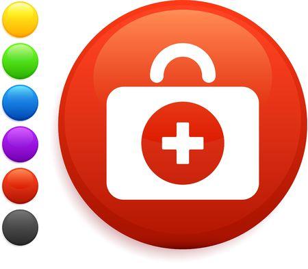 first aid kit icon on round internet button photo