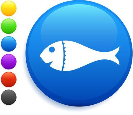 fish icon on round internet button Stock Photo - 6555155