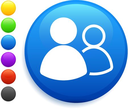 blue circles: user group icon on round internet button
