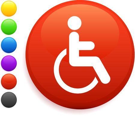 digitally generated image: wheelchair icon on round internet button