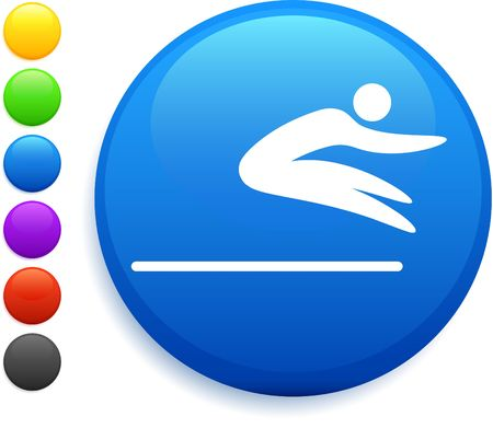 long jump: long jump icon on round internet button Stock Photo