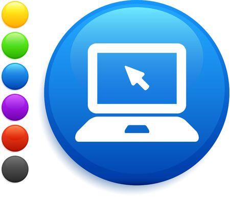 computer laptop icon on round internet button photo