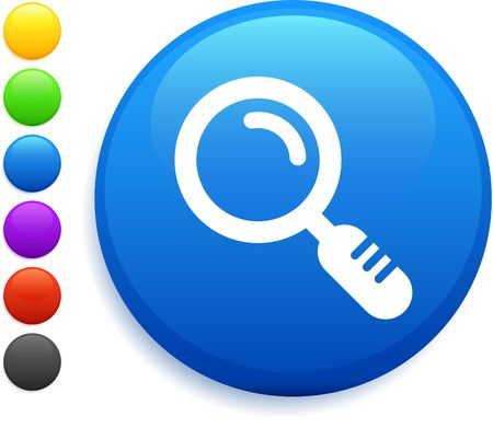 magnifying glass icon on round internet button photo