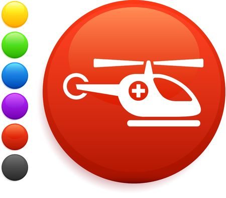 helicopter icon on round internet button  photo