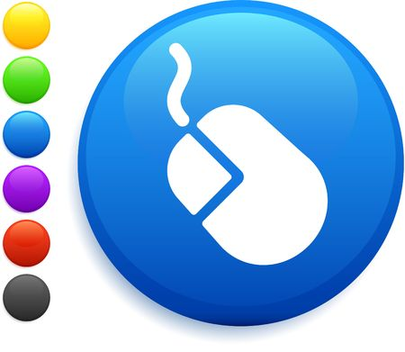 computer mouse icon on round internet button photo