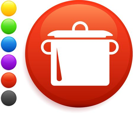 boiling: boiling pot icon on round internet button