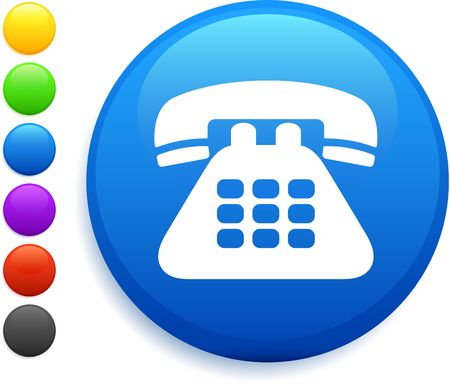 telephone icon on round internet button Stock Photo - 6555152