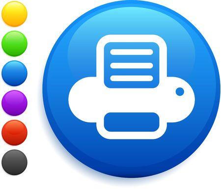printer icon on round internet button original illustration 6 color versions included  illustration