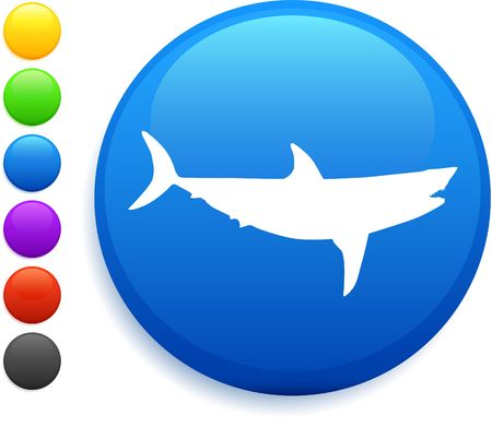 shark icon on round internet buttonoriginal vector illustration6 color versions included Stock Illustration - 6572380