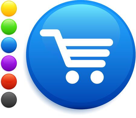 cart: cart icon on round internet button original illustration 6 color versions included