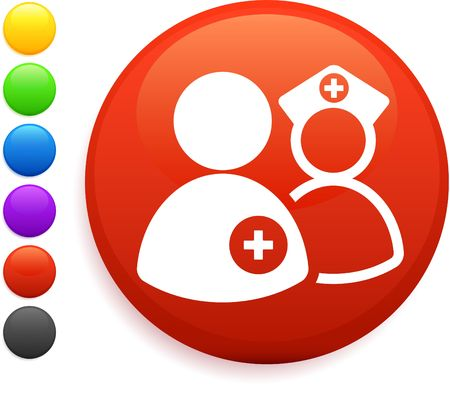 nurse and dcotr icon on round internet button original vector illustration 6 color versions included  illustration
