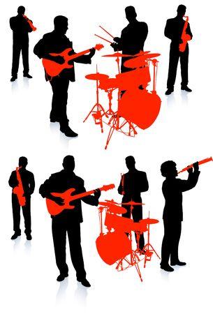 라이브 음악 밴드 컬렉션 원래 그림 사람들 실루엣 세트 스톡 콘텐츠