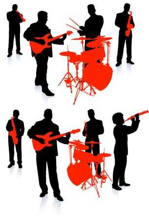 music band: Live Music Band Collection Original Illustration People Silhouette Sets Stock Photo
