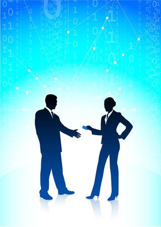 Original Illustration: businessman and businesswoman on blue internet background AI8 compatible illustration