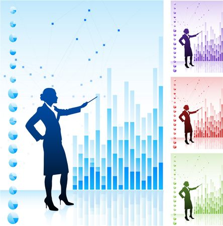 Original Illustration: Business woman on background with financial charts AI8 compatible