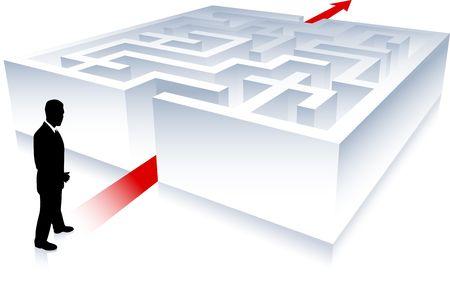 Original Illustration: Business man on background with maze AI8 compatible illustration