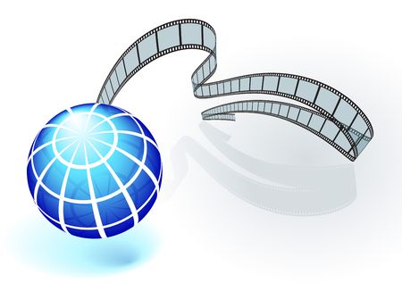 film industry: Original Illustration: International film festival background AI8 compatible Stock Photo