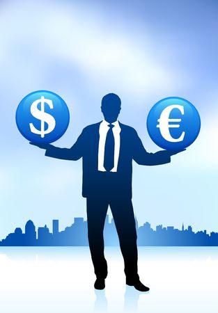 Original Vector Illustration: businessman holding money symbol icon internet backgroundAI8 compatible Stock Illustration - 6572641